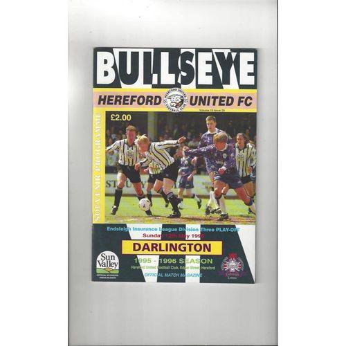Hereford United v Darlington Play Off Football Programme 1995/96