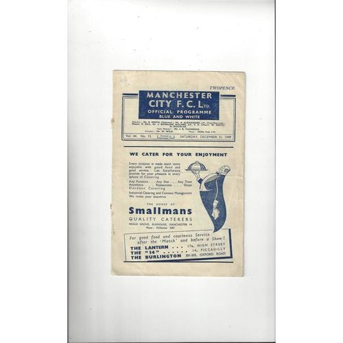 1949/50 Manchester City v Manchester United Football Programme