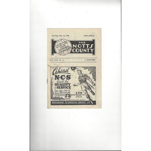 1947/48 Notts County v Watford Football Programme