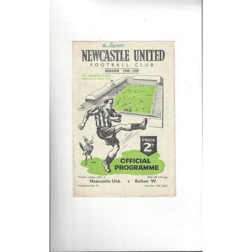 1948/49 Newcastle United v Bolton Wanderers Football Programme