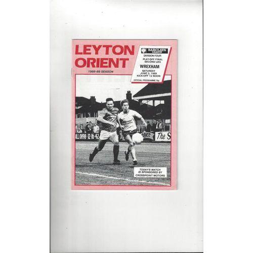 1989 Leyton Orient v Wrexham Play Off Football Programme