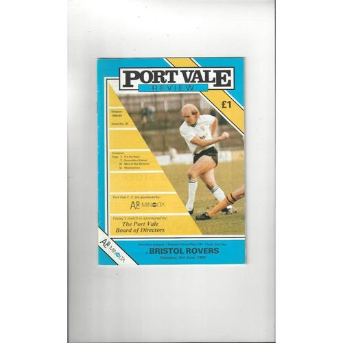 1989 Port Vale v Bristol Rovers Play Off Football Programme