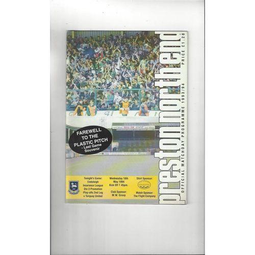 Preston v Torquay United Play Off Football Programme 1993/94