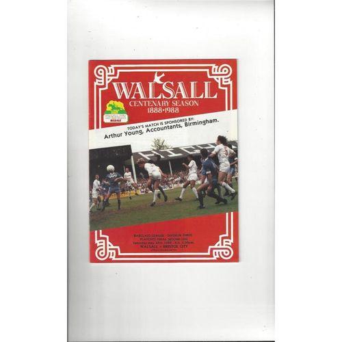 1988 Walsall v Bristol City Play Off Football Programme