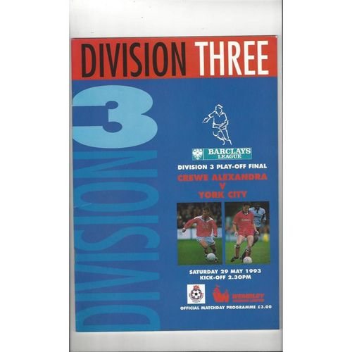 1993 Play Off Final Football Programme Div 3 Crewe Alexandra v York City