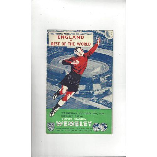 1953 England v Rest of the World  & Denmark Away etc Football Programme