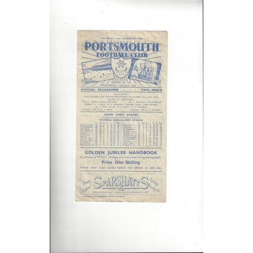 1948/49 Portsmouth v Manchester United Football Programme