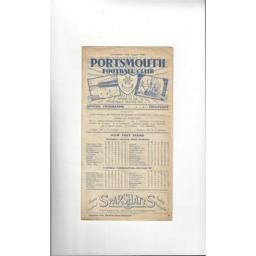 1949/50 Portsmouth v Blackpool Football Programme