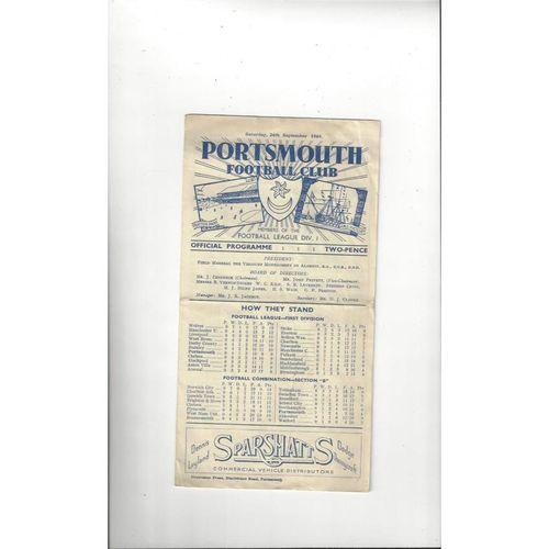 1949/50 Portsmouth v Bolton Wanderers Football Programme