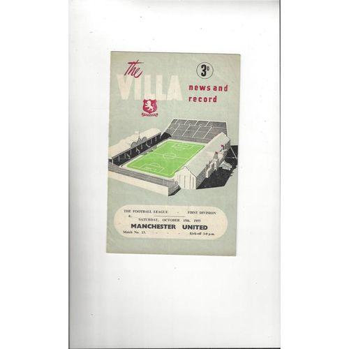1955/56 Aston Villa v Manchester United Football Programme