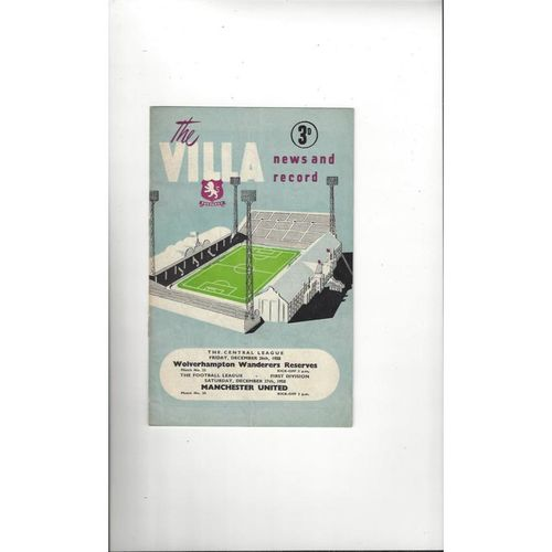 1958/59 Aston Villa v Manchester United Football Programme + Wolves Reserves