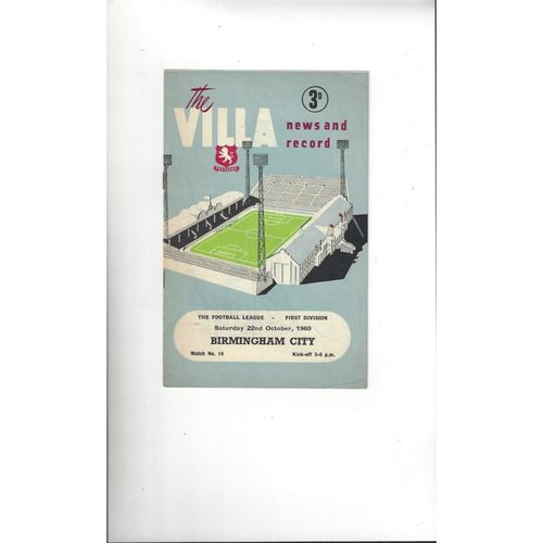 1960/61 Aston Villa v Birmingham City Football Programme