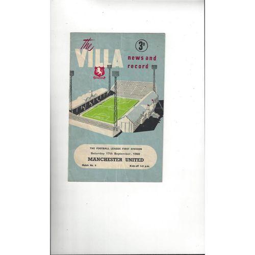 1960/61 Aston Villa v Manchester United Football Programme