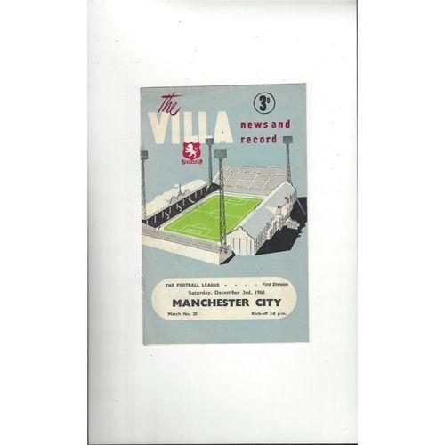 1960/61 Aston Villa v Manchester City Football Programme