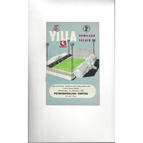 1960/61 Aston Villa v Peterborough United FA Cup Replay Football Programme