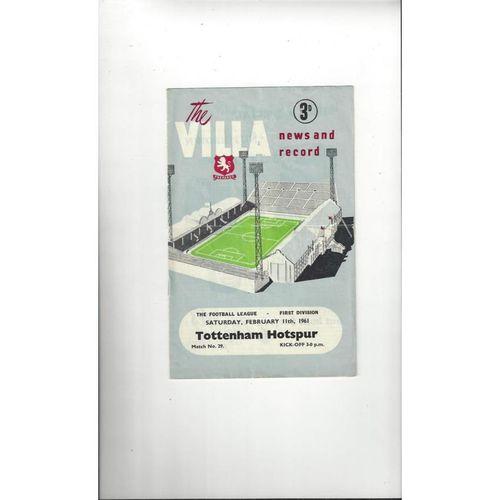 1960/61 Aston Villa v Tottenham Hotspur Football Programme