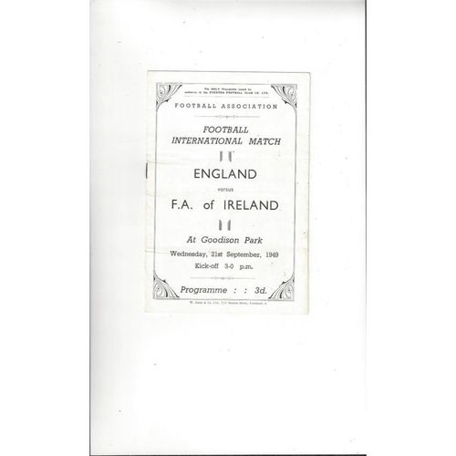 1949 England v FA of Ireland Football Programme @ Everton