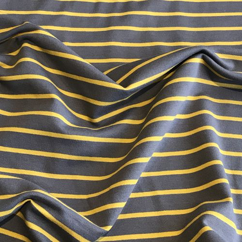 Mustard Yellow Striped Grey Looped Back Jersey