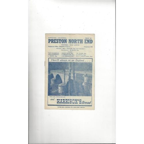 1948/49 Preston v Manchester United Football Programme