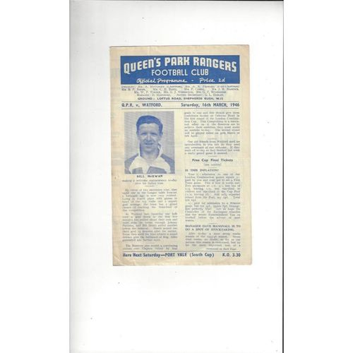 1945/46 Queens Park Rangers v Watford Football Programme Third Division South Cup