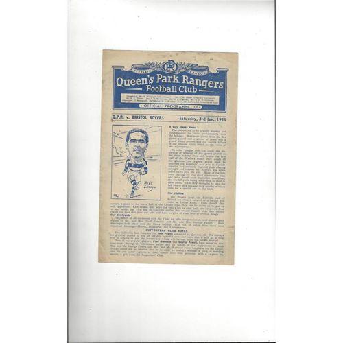 1947/48 Queens Park Rangers v Bristol Rovers Football Programme
