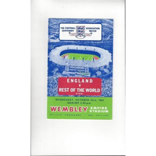 England v Rest of the World Football Programme 1963 Reprint