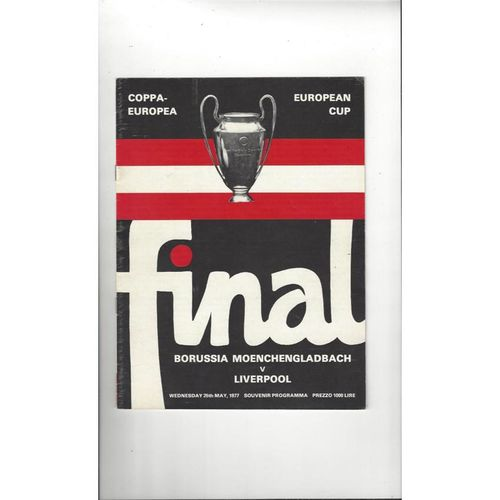 1977 Borussia Moenchengladbach v Liverpool European Cup Final Football Programme