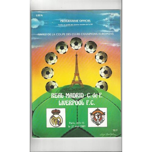1981 Real Madrid v Liverpool European Cup Final Football Programme