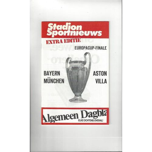 1982 Bayern Munich v Aston Villa European Cup Final Programme Stadium Edition