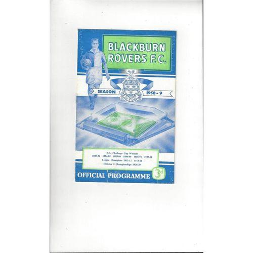 1958/59 Blackburn Rovers v Manchester United Football Programme Reprint