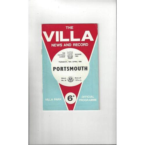 1967/68 Aston Villa v Portsmouth Football Programme + League Review