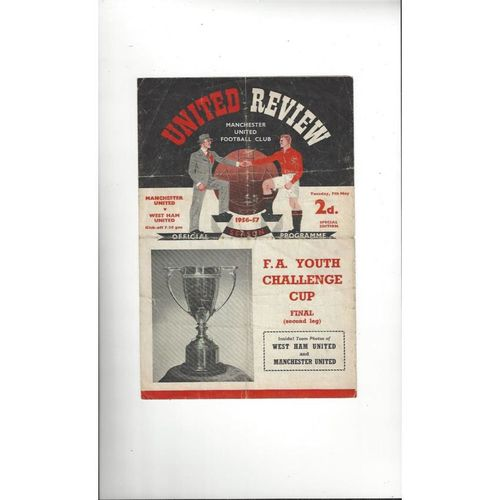 1957 Manchester United v West Ham United Youth Cup Final Football Programme