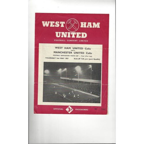 1957 West Ham United v Manchester United Youth Cup Final Football Programme