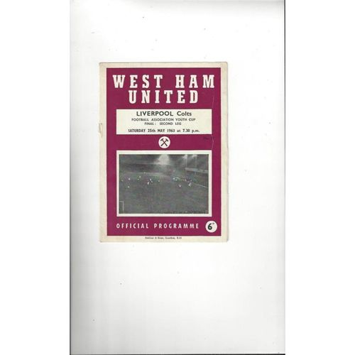 1963 West Ham United v Liverpool Youth Cup Final Football Programme