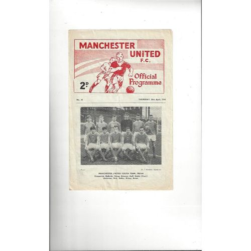 1964 Manchester United v Swindon Town Youth Cup Final Football Programme