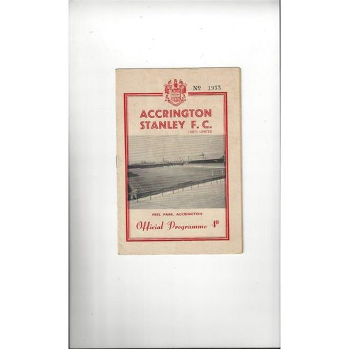 1961/62 Accrington Stanley v Aldershot Football Programme