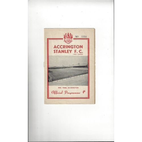 1961/62 Accrington Stanley v Chesterfield Football Programme