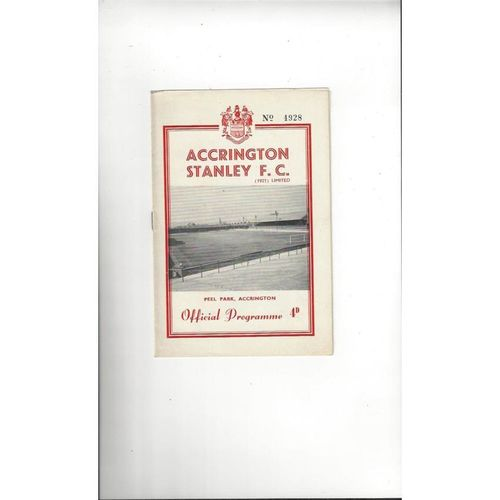 1961/62 Accrington Stanley v Hartlepool United Football Programme