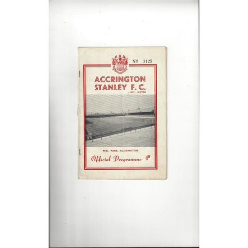 1961/62 Accrington Stanley v Wrexham Football Programme