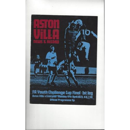 1972 Aston Villa v Liverpool Youth Cup Final Football Programme