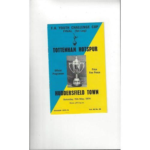 1974 Tottenham Hotspur v Huddersfield Town Youth Cup Final Football Programme