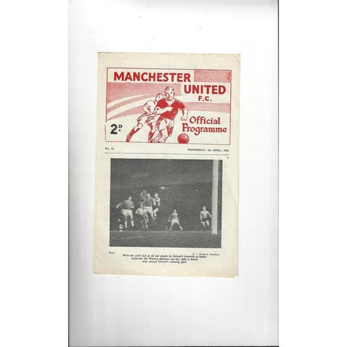 1963/64 Manchester United v Manchester City Youth Cup Semi Final Programme