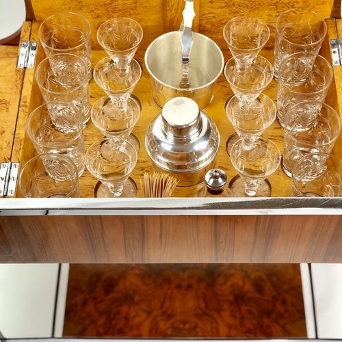 Art Deco Rolling Cocktail Bar Trolley Circa 1920s