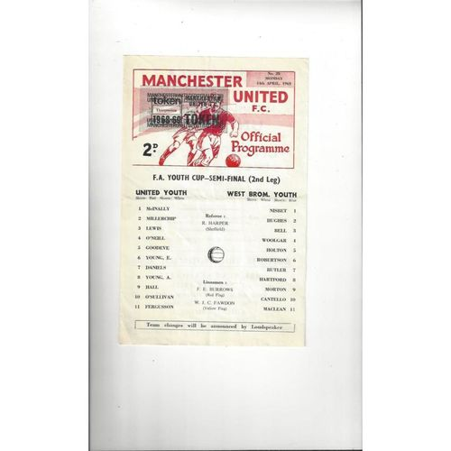 1968/69 Manchester United v West Bromwich Albion Youth Cup Semi Final Football Programme