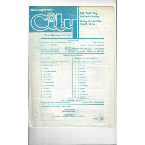 1979/80 Manchester City v Manchester United Youth Cup Semi Final Programme 1979/80