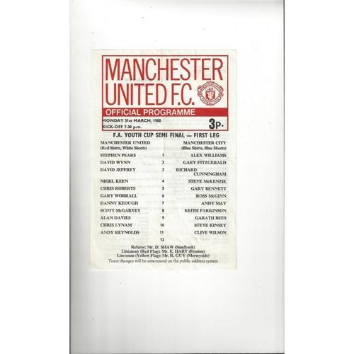 1979/80 Manchester United v Manchester City Youth Cup Semi Final Programme
