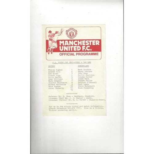 1981/82 Manchester United v Sunderland Youth Cup Semi Final Football Programme