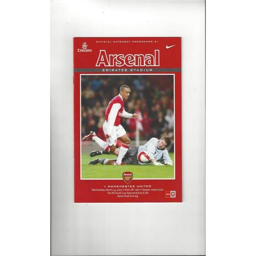 2006/07 Arsenal v Manchester United Youth Cup Semi Final Football Programme