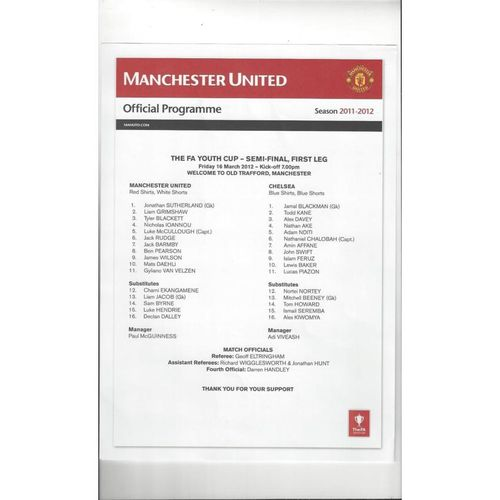 2011/12 Manchester United v Chelsea Youth Cup Semi Final Football Programme