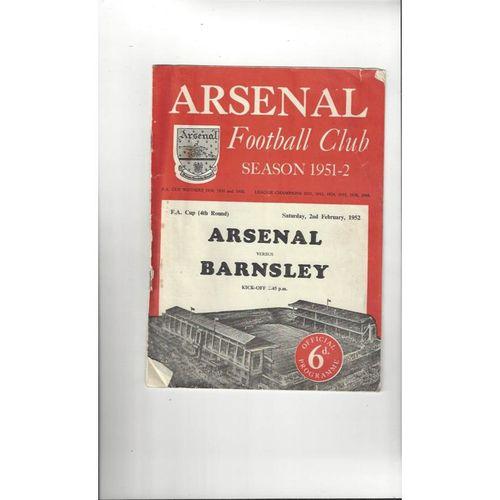 1951/52 Arsenal v Barnsley FA Cup Football Programme
